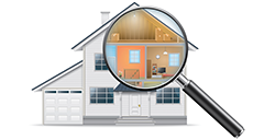 magnifying glass with house