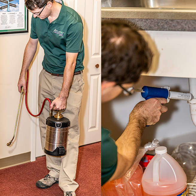 atlantic pest and termite exterminator spraying home